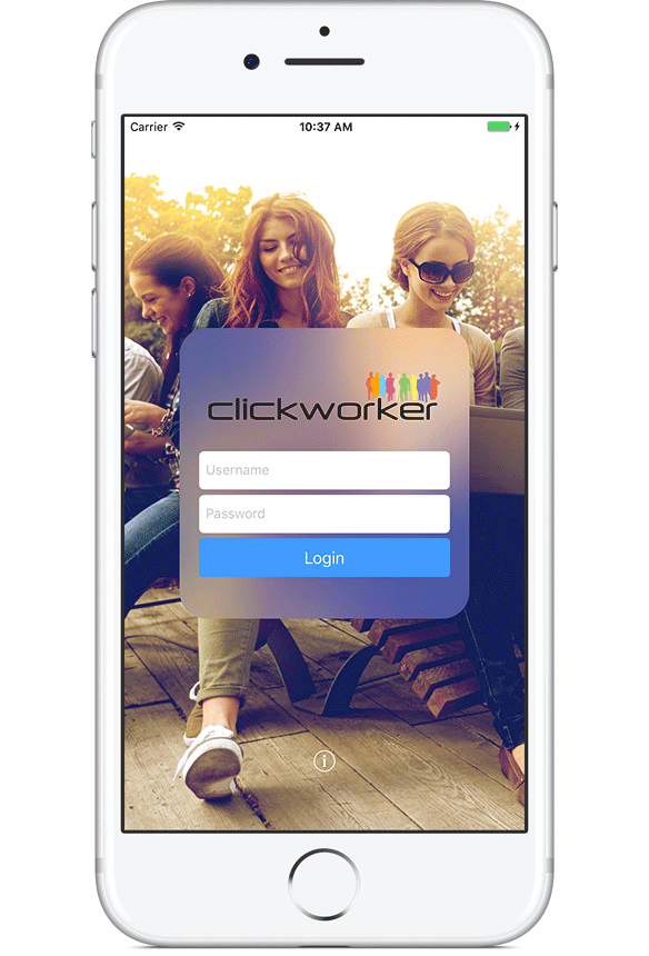 login using the Clickworker Account