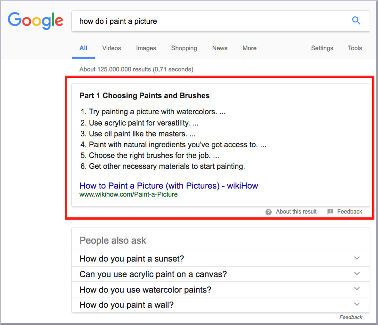 featured Snippet paint